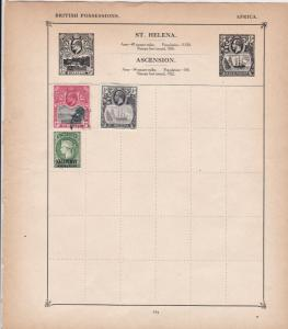 St. Helena Stamps on Album Page ref  R 18887