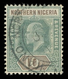 Northern Nigeria 1902 KEVII 10s green & brown very fine used. SG 18. Sc 18.