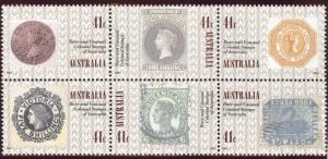 AUSTRALIA Scott 1180 MNH** 1990 Stamp on Stamps block