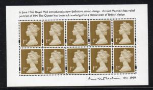 Great Britain Sc MH401De 2010 gold 1st stamp sheet of 10 mint NH