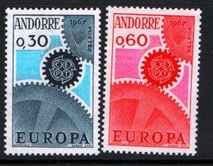 ANDORRA, FR. 174-175 MINT HINGED, EUROPA SET 1967