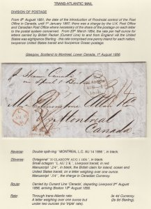 Division of postage 1856 Cunard Line Canada Liverpool Boston Montreal Canada