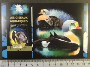 Djibouti 2016 aquatic birds flowers lilies s/sheet mnh