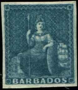 Barbados SC# 3a SG# 4a Britannia (2d) grayish slate Imperf MVLH orig gum