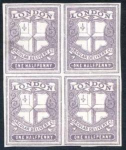 CD27 1/2d Deep Dull Purple London Circular Delivery Block 4 Mint Part Gum