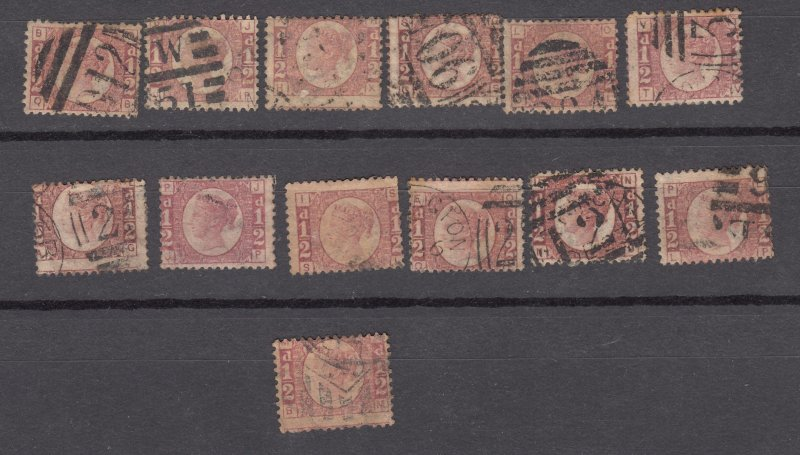 J27444 1870 great britain used #58 queen lot, cheap condition varies check scan