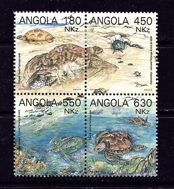 Angola 882 MH 1993 Turtles block of 4
