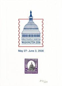 Washington Rare 2006 World Philatelic Exhibition Stamp Card #242 Of 650 XF
