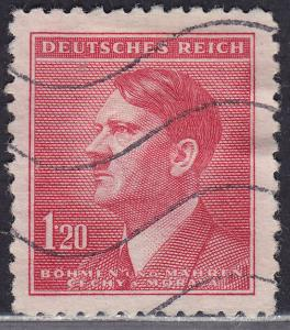 Czech B&M 69 USED 1942 WWII Adolf Hitler Looking Left 1.20k