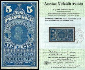 Scott PR4 1865 5c Newspaper Issue Unused F-VF Cat $750 with APS CERTIFICATE!