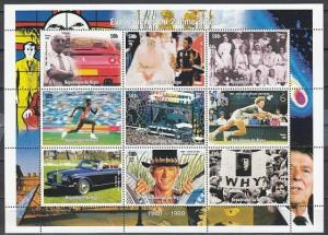 Niger, 1998 Cinderella issue. 1980-1989. Events of 20th Century sheet of 9. ^