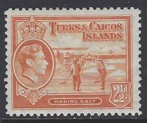 Turks & Caicos, Scott #83; 2 1/2p King George VI, MH