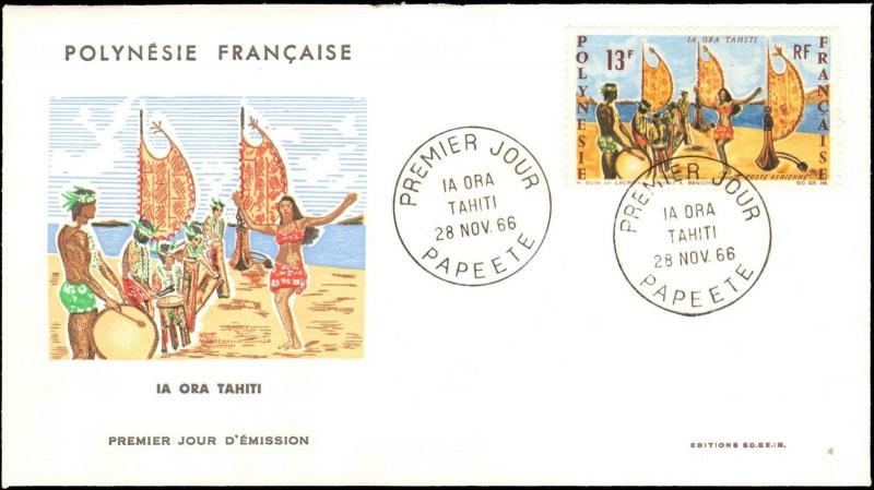 1966 FRENCH POLYNESIA FIRST DAY COVER WITH CACHET