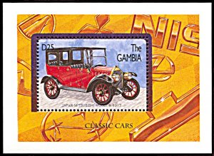 Gambia 1748, MNH, Mitsubishi Model A Classic Car souvenir sheet