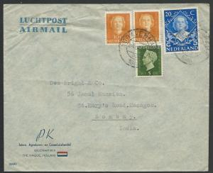NETHERLANDS 1949 45c airmail rate cover to INDIA...........................52807