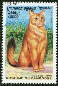 Domestic Cat, Somali. 1999 Cambodia, Scott #1823. Free WW S/H