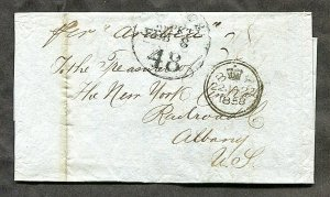p510 - GB 1858 Folded Cover / Folded Letter SFL to USA. Railroad. Packet ARABIA