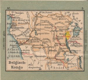 Germany Schaubek Poster Stamp BELGIAN CONGO Map A6096