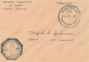 France Military Free Mail 1992 United Nations, Protection Force illustrated c...