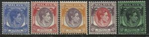 Straits Settlements KGVI 1937 15 cents to 50 cents mint o.g.