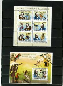 COMOROS 2008 BIRDS SHEET OF 6 STAMPS & S/S MNH