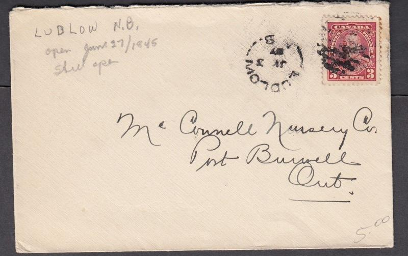 NEW BRUNSWICK SPLIT RING TOWN CANCEL COVER LUDLOW