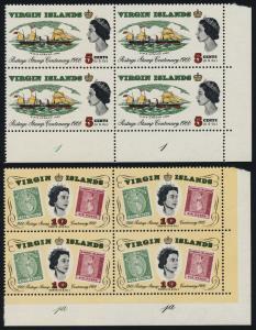 Virgin Islands 169-72 BR Plate Blocks MNH Ships, Stamp on Stamp, Aircraft
