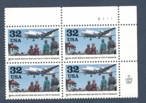 3211 Berlin Airlift Plate Block Mint/nh (Free Shipping)
