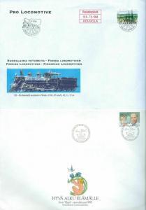 Finland.  2 Covers 1987-94. Large Size. Hospital-Finnish Locomotives.Sc# 762-717