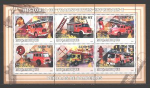 Mozambique. 2009. Small sheet 3160-65. Fire fighting equipment. MNH.