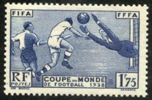France Scott 349 MVF-XFNHOG - 1938 FIFA/FFFA World Cup - SCV $29.00