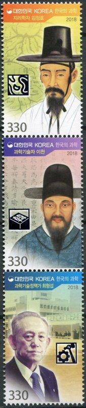 South Korea. 2018. Famous Korean Scientists (IV) (MNH OG) Block of 3 stamps