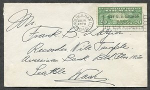 p673 - HONOLULU Hawaii 1941 Airmail Cover to Seattle. 20c Line at Bottom Margin