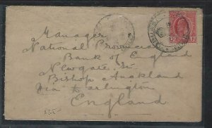 GOLD COAST (P2708B)  1913 KE  1D COVER OBUASI TO ENGLAND