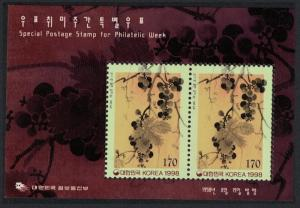Korea 'Grapes' Painting Philatelic Week MS issue 1998 SG#MS2300