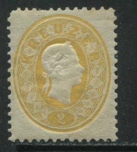 Austria 1860 2 kreuzers yellow mint o.g.