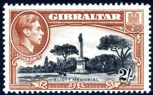 GIBRALTAR-1938-51 2/- Black & Brown Perf 13½ lightly mounted mint  Sg 128a