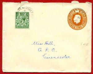 EP63 KGV 2d Orange Size H Envelope Used Uprated
