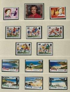 JE214)Jersey 1996 Tourism (6) + Football (5) + QE II Birthday (1) + Famous Women
