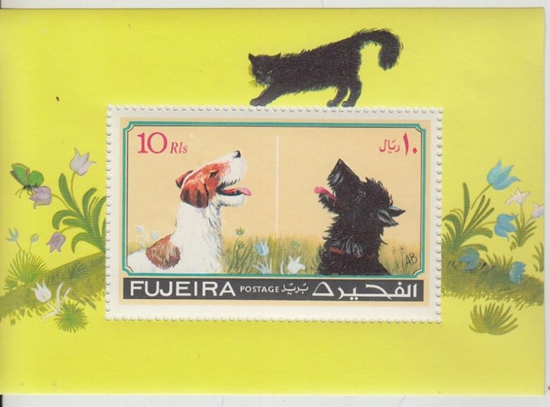 Fujeira MNH S/S Dogs Watching Cat