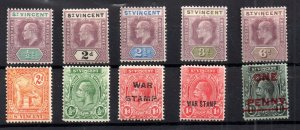 St Lucia KEVII-KGV mint MH collection x 8V WS14984