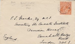 APH526) Australia 1921 small surface mail cover to UK. Bears 2d Orange KGV