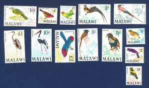 MALAWI - Scott 95 // 109 - FVF MNH - BIRDS - 1968