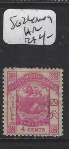 NORTH BORNEO  (P2601B)  4C ARMS, LION   POSTAGE SG 24    MOG  HR