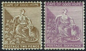 CAPE OF GOOD HOPE 1884 HOPE SEATED 2D AND 6D WMK ANCHOR