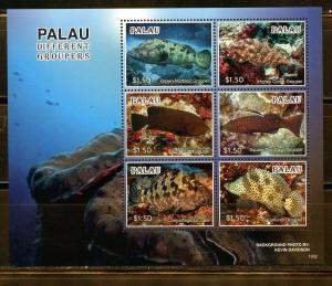 PALAU 2019  DIFFERENT GROUPERS  SHEET OF SIX  MINT NEVER HINGED
