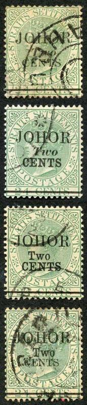 Johore SG17/20 2s on 24c Set of Four Types Fine used Cat 385 pounds
