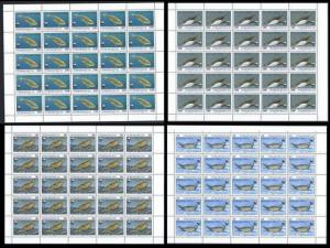 Turkmenistan 1993 Sc#35/38 WWF Caspian Seals 4 Sheetlets of 25 each Unfolded
