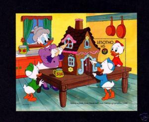 LESOTHO - 1986 - DISNEY - CHRISTMAS - GRANDMA - HUEY - DEWEY - LOUIE - MINT S/S!