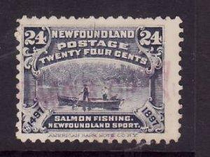 Newfoundland-Sc#71-used 24c Salmon Fishing-1927-id219-